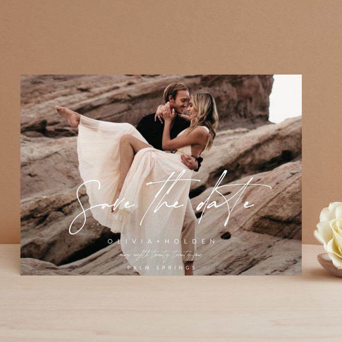 """""""Celebrate"""" - Save The Date Cards in Powder by Brittany Braithwaite."""