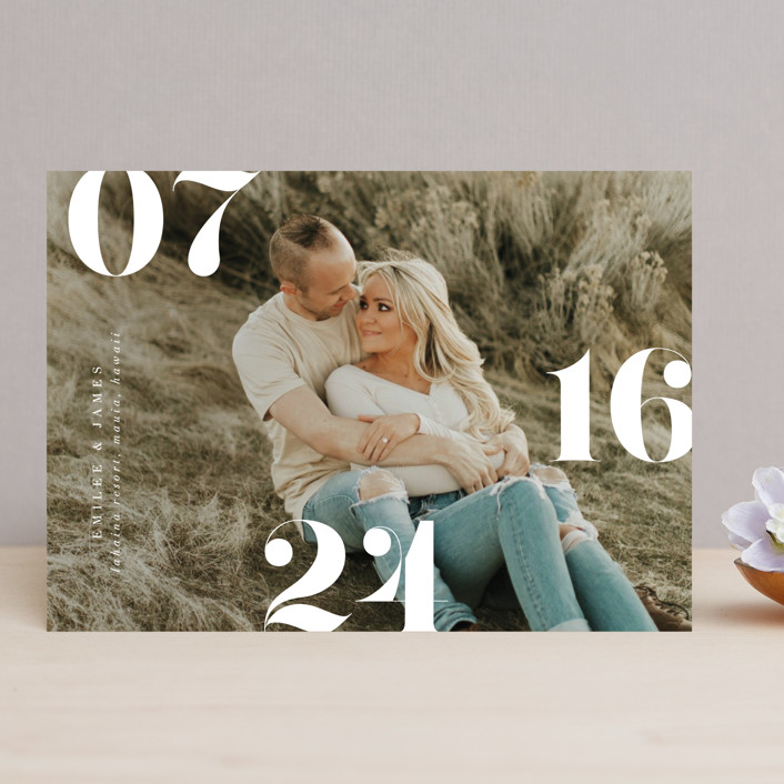 """""""Elevate"""" - Save The Date Cards in Snow by Itsy Belle Studio."""