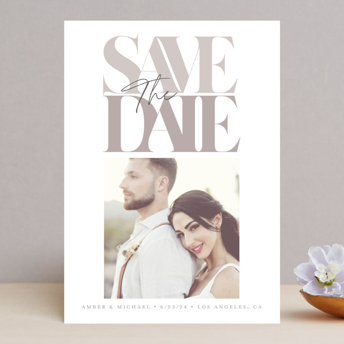 """""""Serifs"""" - Save The Date Cards in Stone by GeekInk Design."""