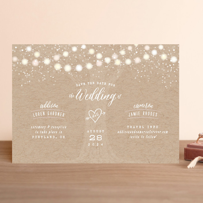 """Garden Lights"" - Rustic Save The Date Cards in Plum by Hooray Creative."