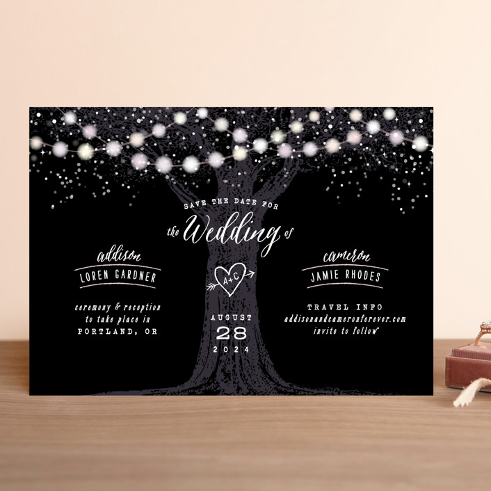 """""""Garden Lights"""" - Rustic Save The Date Cards in Midnight by Hooray Creative."""