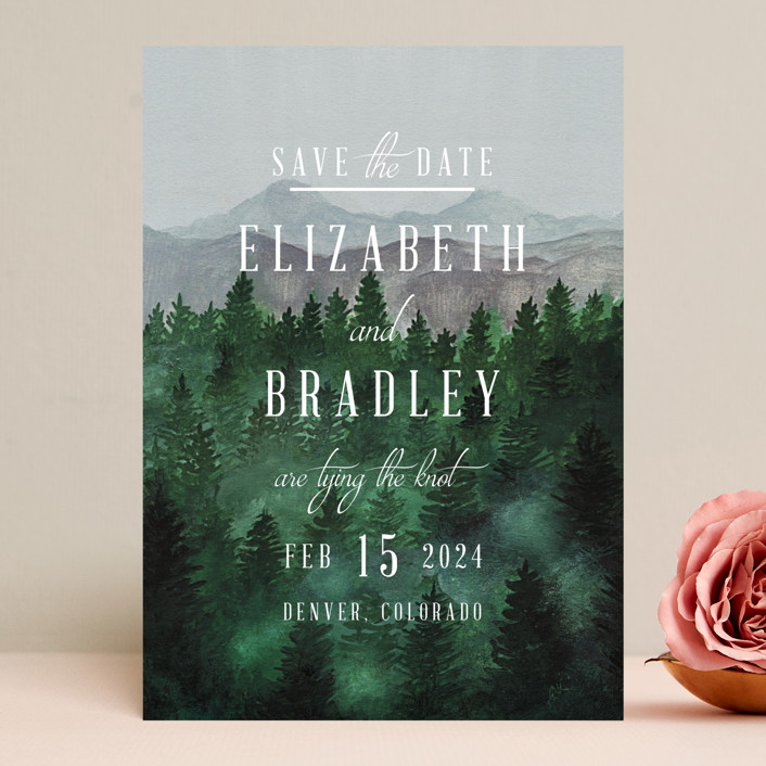 """""""Adventure Awaits"""" - Rustic Save The Date Cards in Smoke by Elly."""