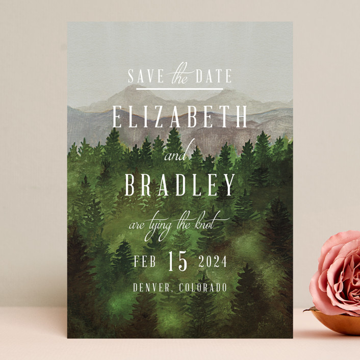 """Adventure Awaits"" - Rustic Save The Date Cards in Smoke by Elly."
