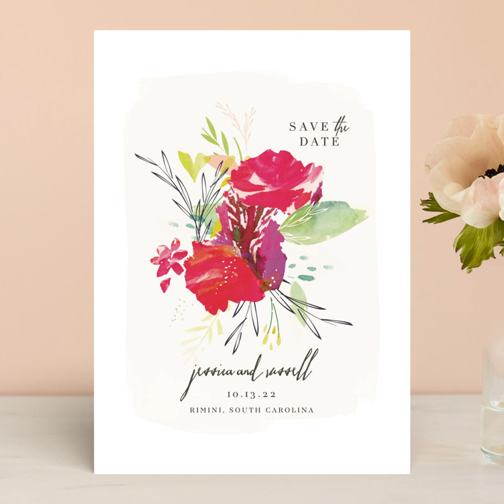 """""""Angelica"""" - Floral & Botanical, Modern Save The Date Cards in Leaf by Lori Wemple."""