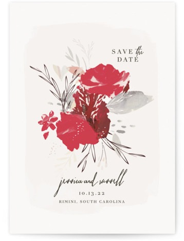This is a portrait botanical, red Save the Dates by Lori Wemple called Angelica with Standard printing on Signature in Classic Flat Card format. Abstract florals