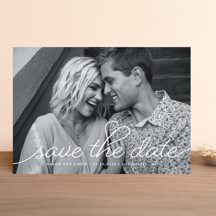 """""""Beloved"""" - Save The Date Cards in Snow by Sarah Brown."""