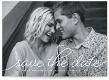 This is a white save the date by Sarah Brown called Beloved with standard printing on smooth signature in standard.
