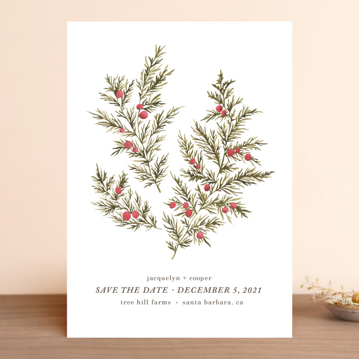 """""""Botanical No. 4"""" - Save The Date Cards in Holly by Wildfield Paper Co.."""