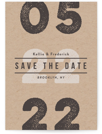 This is a portrait bold and typographic, brown Save the Dates by chocomocacino called Cognac with Standard printing on Signature in Classic Flat Card format. Hip and unique save the date, inspired by stamp on cardboard