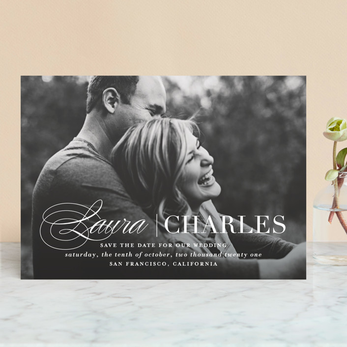 """Darling + Dapper"" - Save The Date Cards in Winter by Lauren Chism."