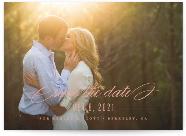 This is a landscape, portrait classic and formal, pink Save the Dates by Carolyn MacLaren called Dashing with Standard printing on Smooth Signature in Classic Flat Card format. A single photo design that feels both modern and elegant.