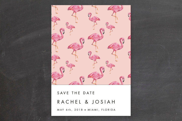 """""""Flamingo Wedding"""" - Whimsical & Funny Save The Date Cards in Guava by Makewells."""