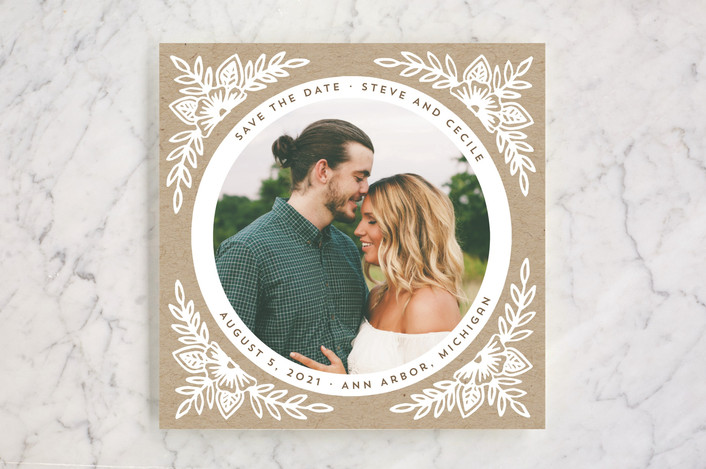 """""""Floral Circle"""" - Save The Date Cards in Kraft by Katharine Watson."""