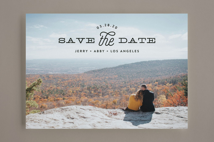 """Heading"" - Modern Save The Date Cards in Noir by Phrosne Ras."