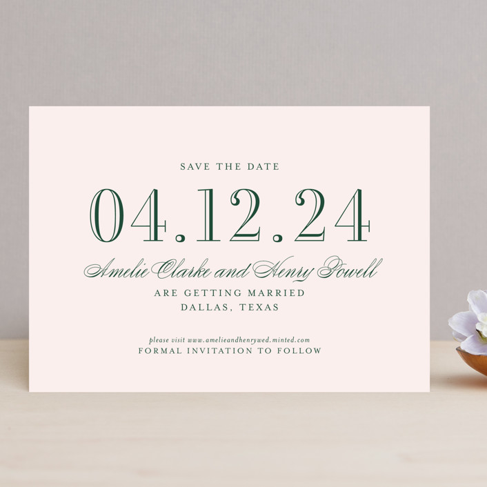 """""""Hepburn"""" - Save The Date Cards in Rose by Toast & Laurel."""