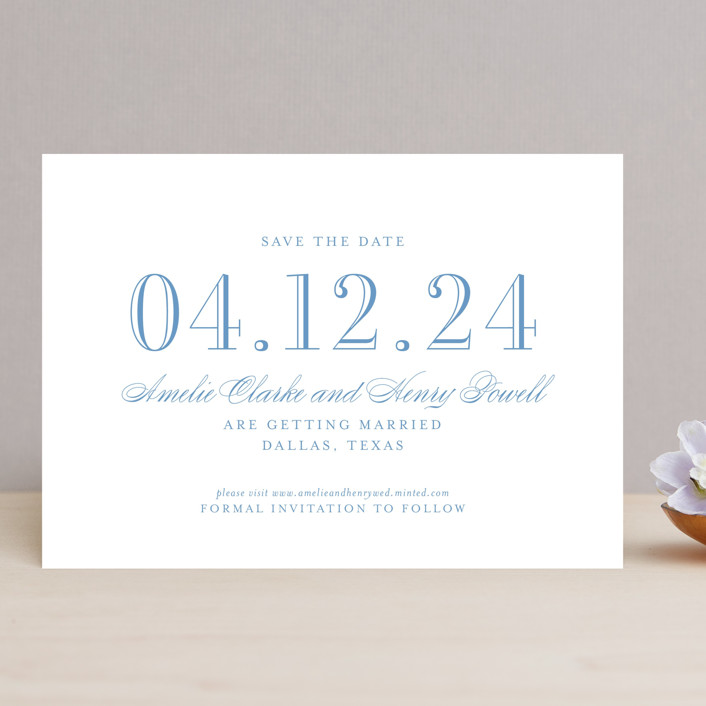 """Hepburn"" - Save The Date Cards in Rose by Toast & Laurel."