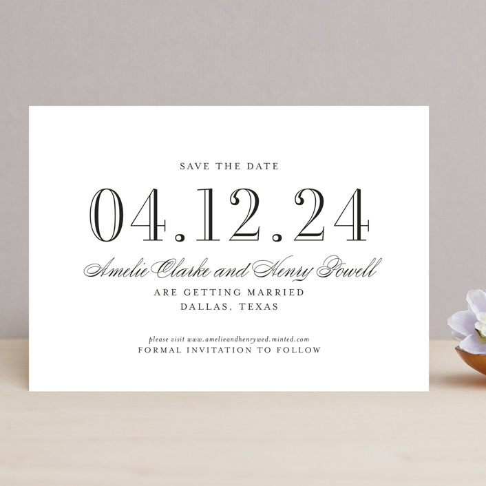 """Hepburn"" - Save The Date Cards in Tuxedo by Toast & Laurel."