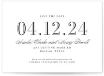This is a black save the date by Toast & Laurel called Hepburn with standard printing on signature in standard.