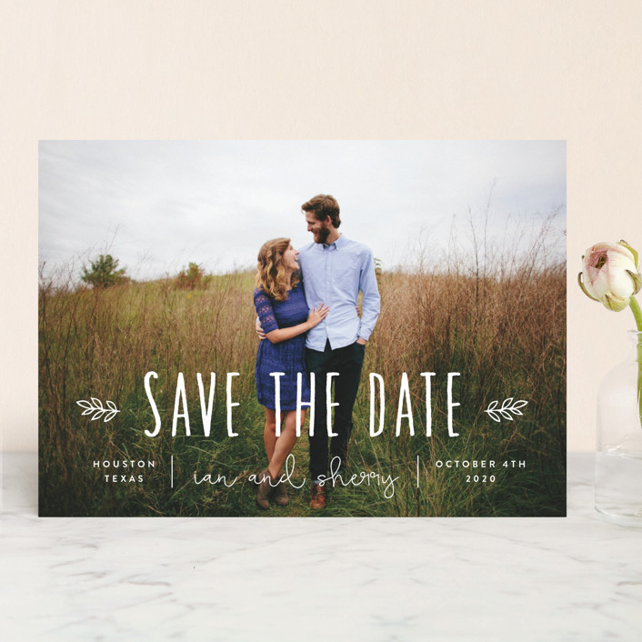 """Homegrown"" - Bohemian Save The Date Cards in Pearl by Sara Hicks Malone."