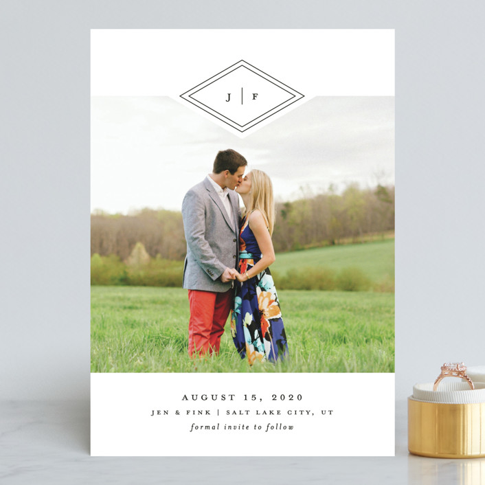 """Looking Sharp"" - Modern Save The Date Cards in Cotton by Stacey Meacham."