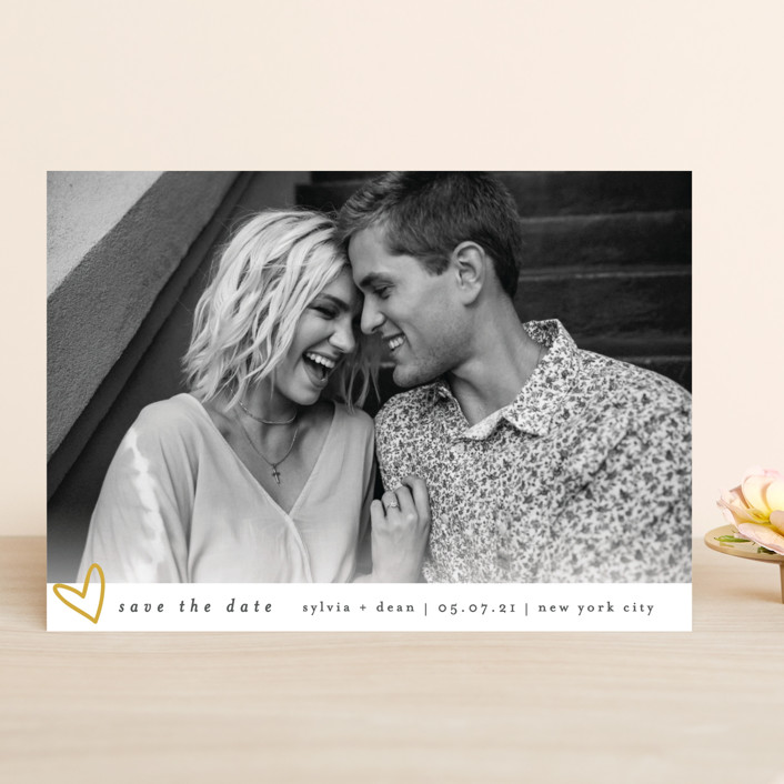"""""""Oh My Heart"""" - Save The Date Cards in Goldenrod by Bethan."""
