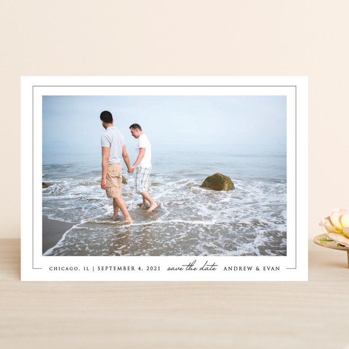 """Photo First"" - Save The Date Cards in Pearl by Erin Deegan."