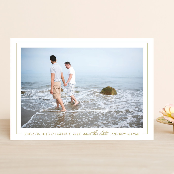 """""""Photo First"""" - Save The Date Cards in Pearl by Erin Deegan."""