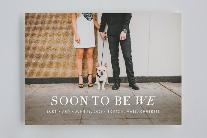 """Soon to Be We"" - Modern Save The Date Cards in Snow by Sarah Curry."