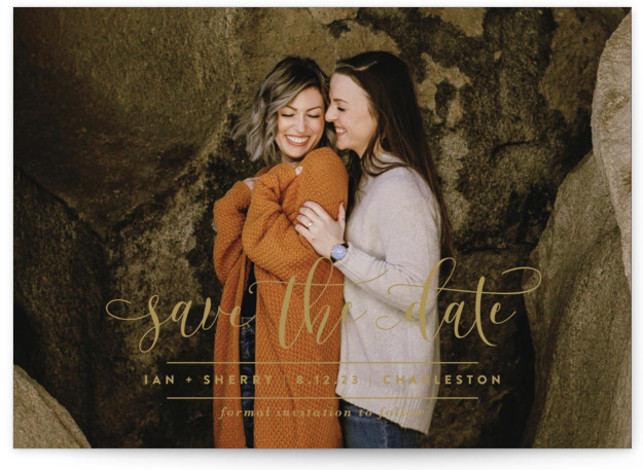 This is a landscape, portrait classic and formal, brown Save the Dates by Lauren Chism called Statement with Standard printing on Signature in Classic Flat Card format. Make a statement with this elegant calligraphy script and unique layout.