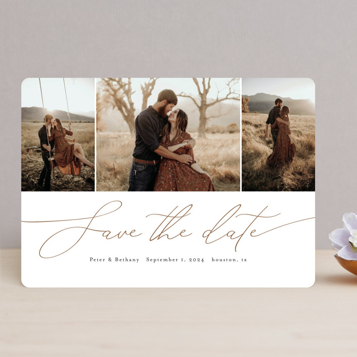 """Chantilly"" - Save The Date Cards in Rust by Stacey Meacham."