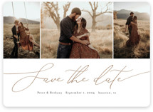 This is a brown save the date by Stacey Meacham called Chantilly with standard printing on pearlescent in standard.