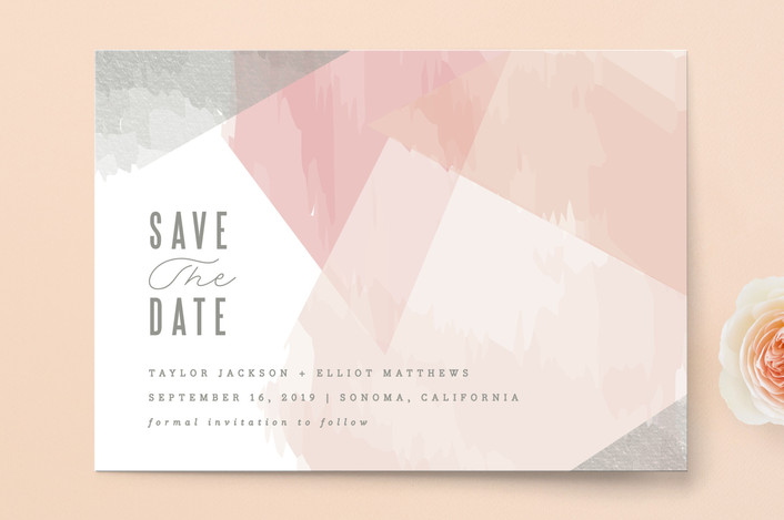 """delicate stonework"" - Save The Date Cards in Peach by Karidy Walker."