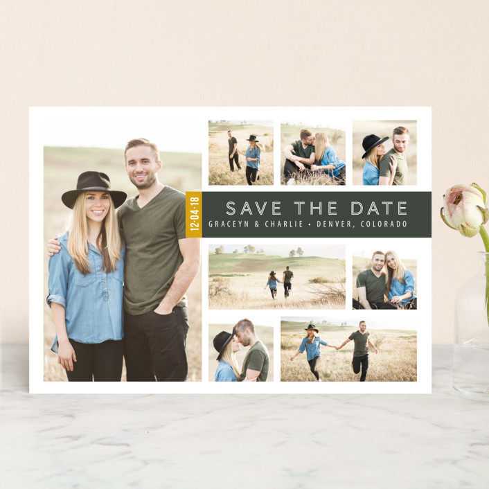 """""""A Collage for Two"""" - Modern Save The Date Cards in Charcoal by Kimberly Morgan."""