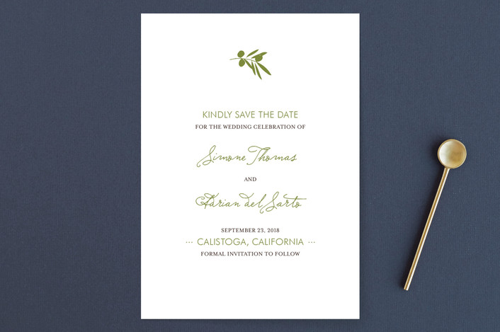 """Simple Olive"" - Modern, Floral & Botanical Save The Date Cards in Garden Green by annie clark."
