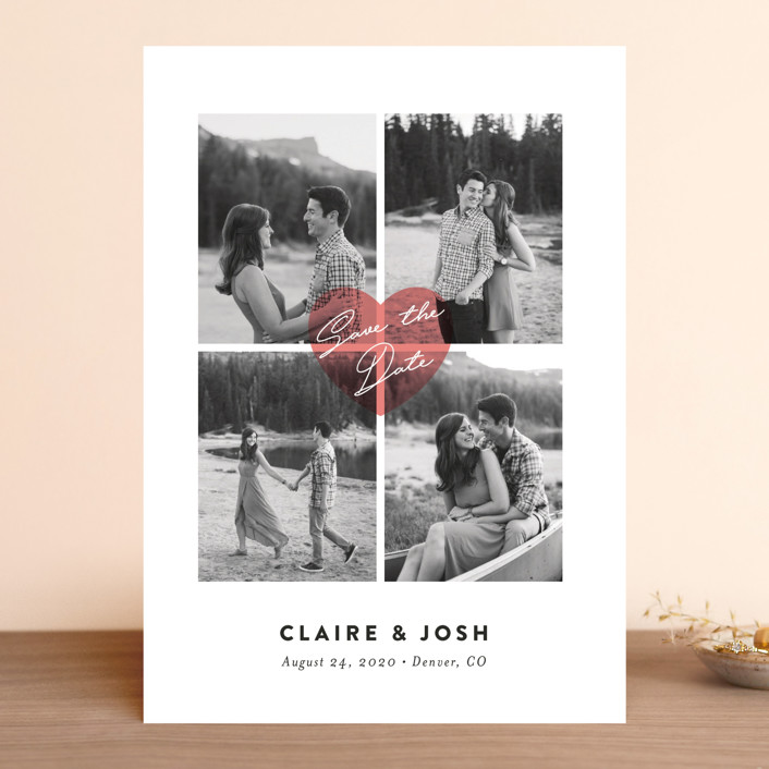 """Pure Love"" - Modern Save The Date Cards in Blush by Jana Volfova."