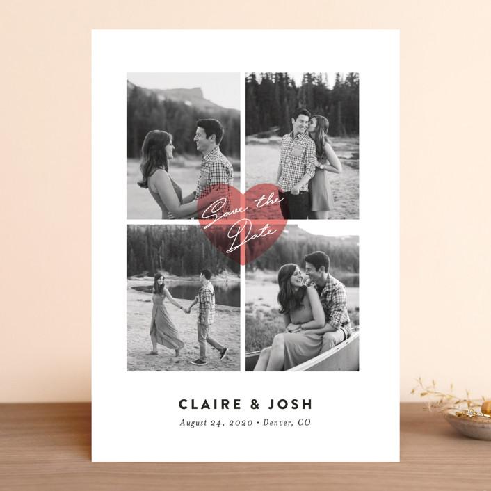 """Pure Love"" - Modern Save The Date Cards in Blush by Jana Volfova."