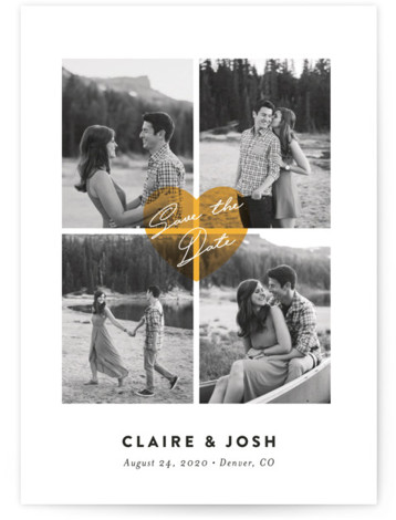 This is a portrait modern, simple and minimalist, yellow Save the Dates by Jana Volfova called Pure Love with Standard printing on Smooth Signature in Classic Flat Card format. Simple multi photo save the date card