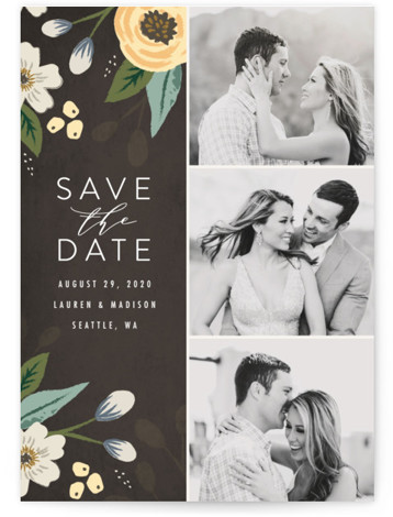 This is a portrait botanical, yellow Save the Dates by Karidy Walker called Love in Bloom with Standard printing on Signature in Classic fold over (blank inside) format. This save the date card features a multi display of photos with ...