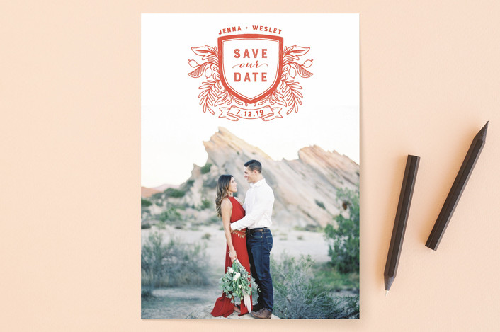 """Poetic Crest"" - Rustic Save The Date Cards in Slate by Paper Raven Co.."