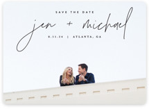 This is a black save the date by JoAnn Jinks called Penned with standard printing on pearlescent in standard.