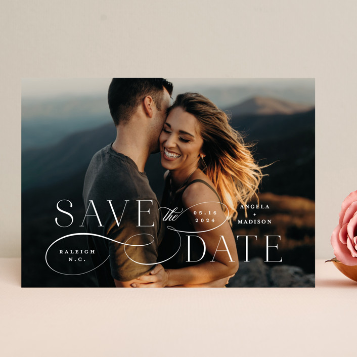 """Flourish"" - Save The Date Cards in Vanilla by Ashley Rosenbaum."