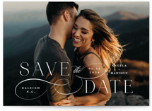 This is a white save the date by Ashley Rosenbaum called Flourish with standard printing on pearlescent in standard.