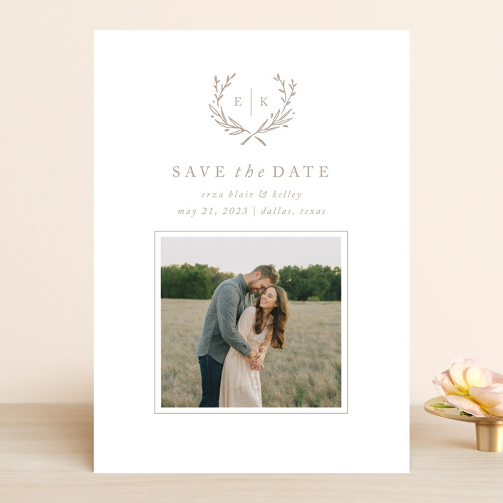 """""""Lined Laurel"""" - Rustic Save The Date Cards in Cotton by Amy Kross."""