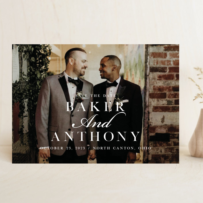"""""""Stacked Names"""" - Save The Date Cards in Snow by Mayflower Press."""