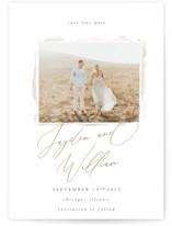 This is a white save the date by Robert and Stella called Eloquence with standard printing on signature in standard.