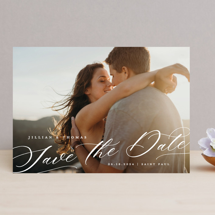 """""""Slant"""" - Save The Date Cards in Snow by Michelle Taylor."""