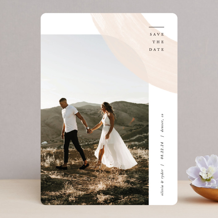 """""""Glimpse"""" - Save The Date Cards in Peach by Pixel and Hank."""