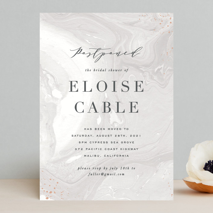 """""""Moody Marbling"""" - Save The Date Cards in Taupe by Hooray Creative."""