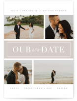 This is a grey save the date by Kristie Kern called Banner Day with standard printing on smooth signature in standard.