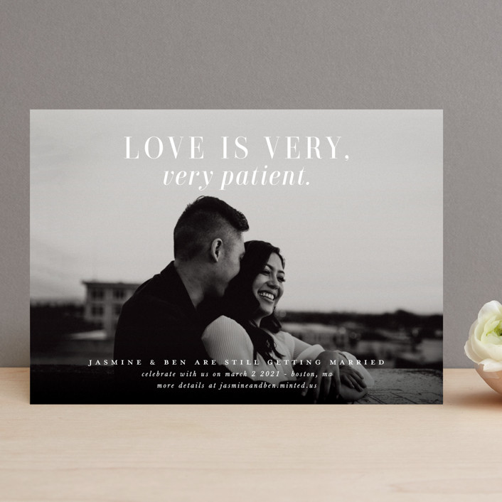 """""""Very, Very Patient"""" - Funny Save The Date Cards in Snow by Lori Wemple."""